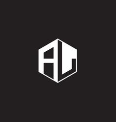 Al logo monogram hexagon with black background vector