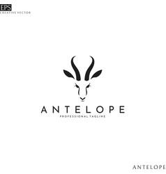 antelope springbok head logo template vector image