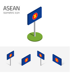 Asean flag set isometric flat icons 3d style vector