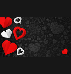 Background with paper hearts vector