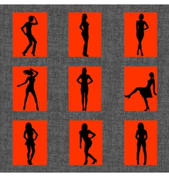 Background with set of sexy women silhouettes vector image