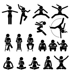 Basic woman jump and sit actions and positions vector