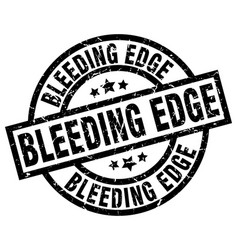 Bleeding edge round grunge black stamp vector