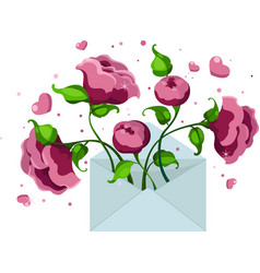 blue envelope with pink peonies and hearts vector image