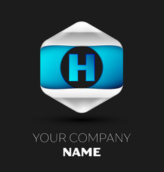 blue letter h logo in the silver-blue hexagonal vector image