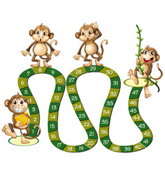 Boardgame template with cute monkeys vector