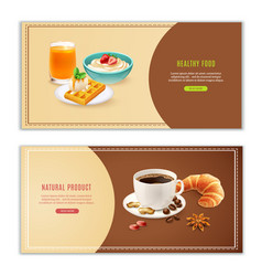 Breakfast realistic banners set vector