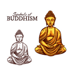 Buddhism religion and buddha symbol sketch vector