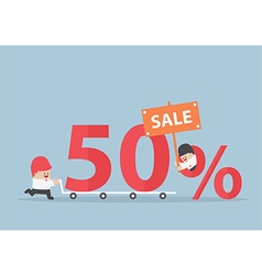 Businessman with discount marketing promotion sale vector image