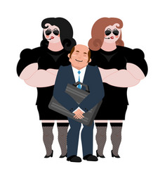 businessman with wooman bodyguards vip protection vector image