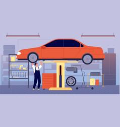 Car garage auto repair service workshop station vector