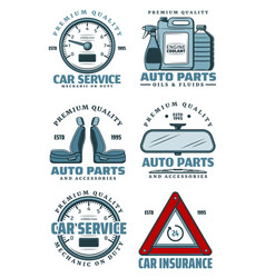 Car service station and auto parts store icons vector