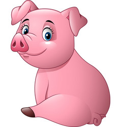 cartoon adorable baby pig vector image