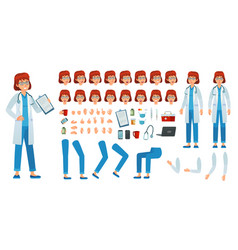 cartoon female doctor creation kit medic woman vector image