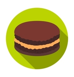 Chocolate biscuit icon in flat style isolated on vector image