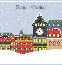 christmas card with town in winter vector image