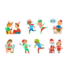 christmas holiday children opening presents set vector image