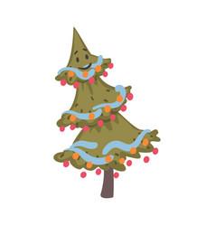 christmas tree cartoon character symbol xmas vector image