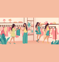 Clothing store stylish diverse consumers in vector