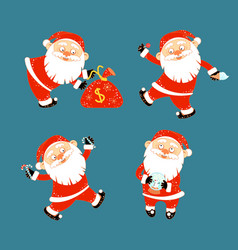 collection of stickers with christmas santa claus vector image
