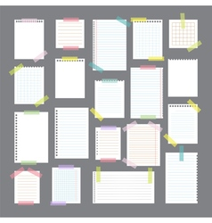 Collection of various note papers with different vector