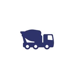 Concrete mixer truck icon on white vector