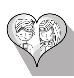 Couple lover inside heart design vector