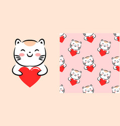cute design with kawaii cat hug heart love vector image