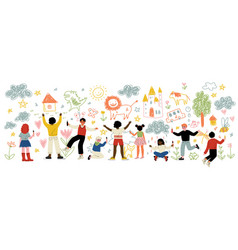 cute kids different nationalities painting and vector image