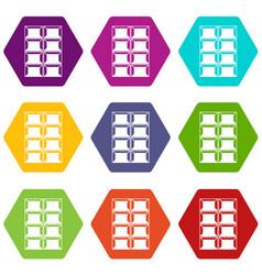 dark chocolate icon set color hexahedron vector image