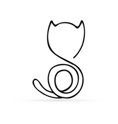 Doodle abstract cat icon isolated on white vector