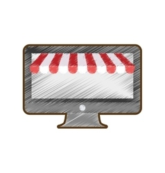 Drawing computer shopping online vector