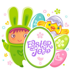 Easter card with rabbit child vector