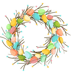 Easter wreath with eggs hand drawn on white vector