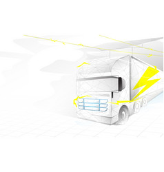 electric trailer truck transportation electric vector image