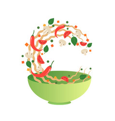 Flipping noodles with vegetables in bowl vector