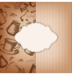 frame with hand-drawing sketch coffee vector image