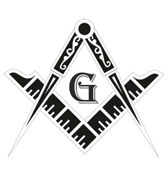 Freemasonry emblem the masonic square and compass vector