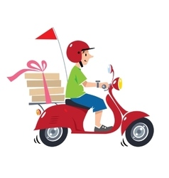 Funny pizza courier on scooter Pizza delivery vector image
