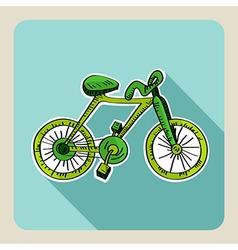 Hand drawn green bike vector image