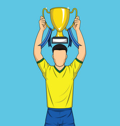 happy sport player holding gold trophy comic style vector image