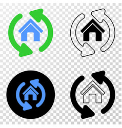 home refresh arrows eps icon with contour vector image