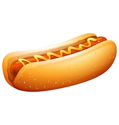 Hot dog in bun with mustard on top vector