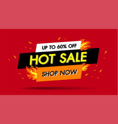 Hot sale fire burn template banner concept design vector