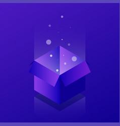 Isometric open box neon vector