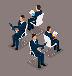 Isometric set businessmen sitting on a chair vector