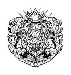 king lions vintage mascot logo vector image