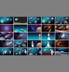 Large set various space scenes vector