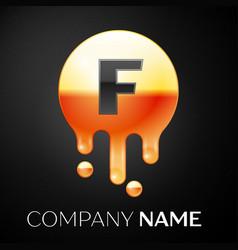 letter f splash logo golden dots and bubbles vector image
