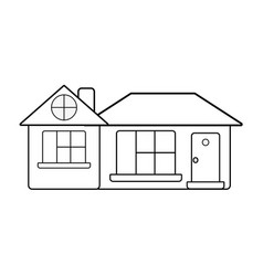 Line big house with roof and windows with door vector